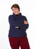 Caucasian kvinna i blått och rött Royaltyfria Bilder