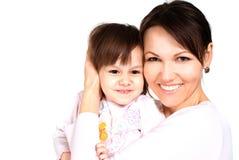 Caucasian kvinna med en dotter royaltyfria bilder