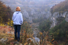 Caucasian Lady on the Edge of the Canyon stock images