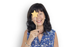 Caucasian Lady Holding Paper Crafted Star Royalty Free Stock Image