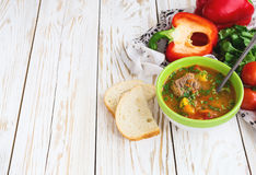 Caucasian lamb or beef Shurpa soup with vegetables Stock Photography