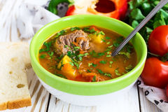 Caucasian lamb or beef Shurpa soup with vegetables Stock Photos