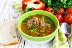 Caucasian lamb or beef Shurpa soup with vegetables Stock Images