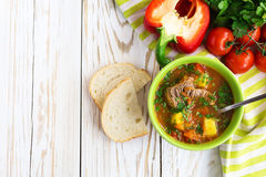 Caucasian lamb or beef Shurpa soup with vegetables Stock Image