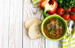 Caucasian lamb or beef Shurpa soup with vegetables Royalty Free Stock Images