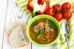 Caucasian lamb or beef Shurpa soup with vegetables Stock Photo