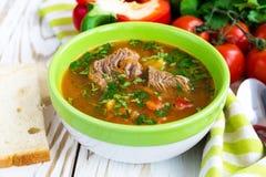 Caucasian lamm- eller nötköttShurpa soppa med grönsaker arkivbild