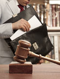 Caucasian lawyer in court Stock Photo