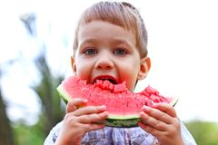 Caucasian little boy eats a slice of watermelon Royalty Free Stock Photography