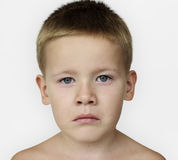Caucasian Little Boy Frowning Bare Chested Royalty Free Stock Image