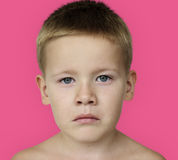 Caucasian Little Boy Frowning Bare Chested Concept Royalty Free Stock Image
