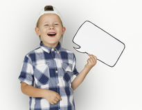 Caucasian Little Boy Holding Chat box Paper craft Royalty Free Stock Image