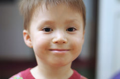 Caucasian little boy portrait smiling at home Royalty Free Stock Photos