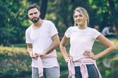 Caucasian Lover Couple  Exercise In The Park With Fun Royalty Free Stock Image