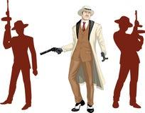 Caucasian mafioso godfather with crew silhouettes Royalty Free Stock Photo