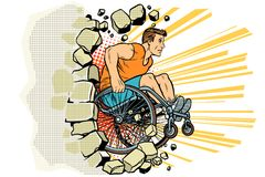 Caucasian male athlete in a wheelchair punches the wall. Person in sports. Barrier-free environment for disabled. pop art retro vector illustration vector illustration