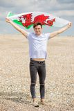 Caucasian male on a beach holding a Welsh flag stock image