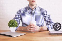 Caucasian male with coffee cup Stock Photos