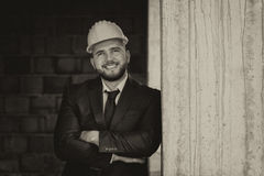 Caucasian Male Construction Manager With Arms Folded Stock Image