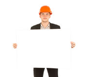 Caucasian Male Engineer Showing Blueprint Paper Royalty Free Stock Photos