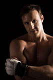 Caucasian male fighter Stock Images