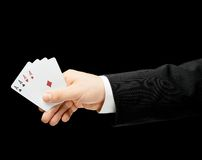 Caucasian male hand in a business suit isolated Royalty Free Stock Images