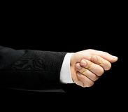 Caucasian male hand in a business suit isolated Royalty Free Stock Photo