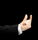 Caucasian male hand in a business suit isolated Royalty Free Stock Photos