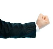 Caucasian male hand composition isolated. Dressed in a business suit caucasian male hand gesture of a clenched fist, high-key light composition isolated over the Stock Photo