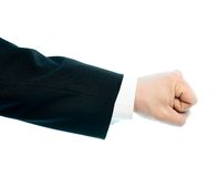 Caucasian male hand composition isolated. Dressed in a business suit caucasian male hand gesture of a clenched fist, high-key light composition isolated over the Stock Photography