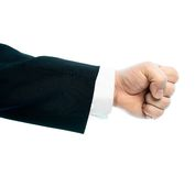 Caucasian male hand composition isolated. Dressed in a business suit caucasian male hand gesture of a clenched fist, high-key light composition isolated over the Royalty Free Stock Images