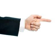 Caucasian male hand composition isolated. Dressed in a business suit caucasian male hand pointing gesture, high-key light composition isolated over the white Royalty Free Stock Photo