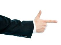 Caucasian male hand composition isolated. Dressed in a business suit caucasian male hand pointing gesture, high-key light composition isolated over the white Royalty Free Stock Photography