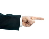 Caucasian male hand composition isolated. Dressed in a business suit caucasian male hand pointing gesture, high-key light composition isolated over the white Stock Photography