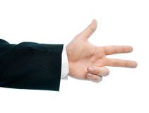 Caucasian male hand composition isolated. Caucasian male hand gesture showing three fingers, high-key light composition isolated over the white background Stock Image