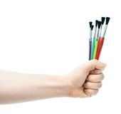 Caucasian male hand holding brushes Stock Photography
