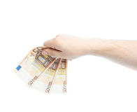 Caucasian male hand holding money Stock Images
