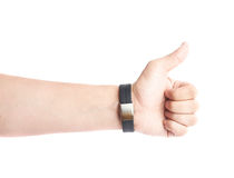 Caucasian male hand in a sport band isolated Stock Photos