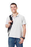 Caucasian male high school student with backpack Royalty Free Stock Images