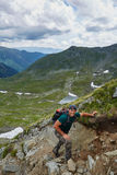 Caucasian male hiker Stock Images