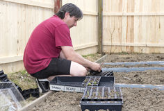 Caucasian male planting vegetables. White Caucasian male planting small suburban vegetable garden royalty free stock photo