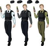 Caucasian male police officer holds taser Stock Image