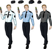 Caucasian male police officer holds taser Stock Photography