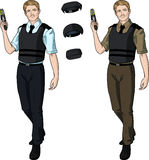 Caucasian male police officer holds taser Royalty Free Stock Photography