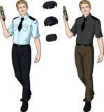 Caucasian male police officer holds taser Stock Images
