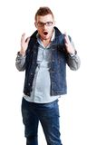 Caucasian male shocked Royalty Free Stock Photography
