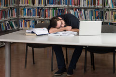 Caucasian Male Student Sleeping In Library Royalty Free Stock Images