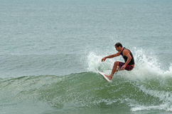 Caucasian Male Surfing Wrightsville Beach, NC Royalty Free Stock Image