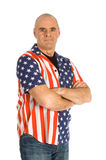 Caucasian male is wearing patriot shirt. Ready for the holidays over white stock photos