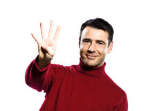 Caucasian man 4 four showing  fingers Royalty Free Stock Image